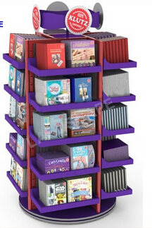 Customized rotating floor books rotating metal display stand/book display rack